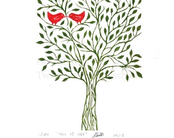 Tree of life, Linocut, Original Linoprint, Lovebirds, Hand Printed, 10 x 12, Nature, Green, Red, Limited Edition, art, Uk