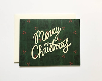 Merry Christmas Card / Christmas Greetings, Christmas Wishes, Merry Christmas, Holly, Red and Green