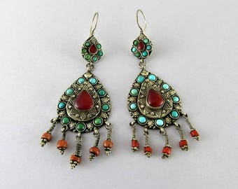 Pakistani silver earrings with carnelian, coral and turquoise beads - Ethnic earrings - Boho earrings