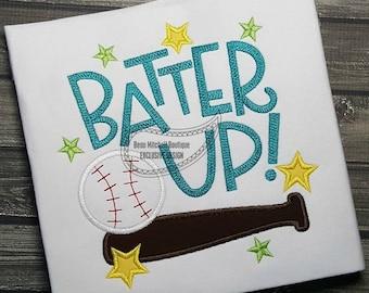 Batter Up applique embroidery design