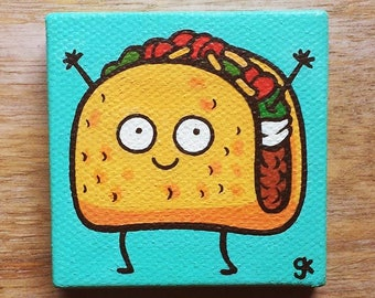 Taco Painting / Happy Food / Collectibles / Gifts / Miniature Painting / Cute / Cartoon / Food Painting