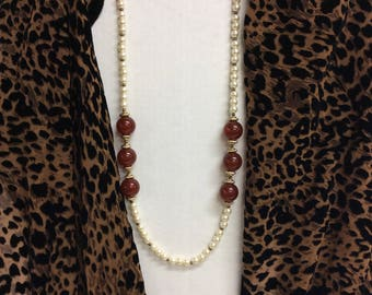Vintage Coro Beaded Faux Pearl and Amber Necklace With Tag