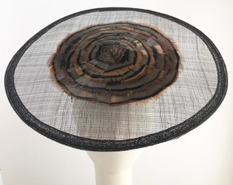 Fascinator with Black Sinamay Brim and  Bronze Feathers