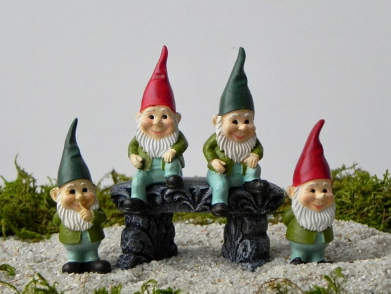 Miniature Gnomes   Miniature Fairy Garden Or Gnome Garden Accessories    Terrarium Supply   Craft Supplies   Sitting Gnome   Miniature Bench From ...