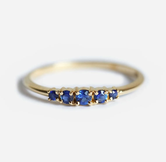 Blue Sapphire Wedding Ring Sapphire Wedding Band Five Stone