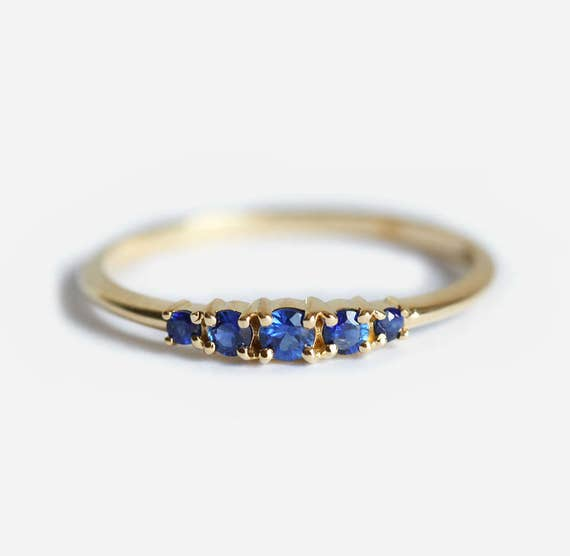 Blue Sapphire Wedding Ring Sapphire Wedding Band Five Stone