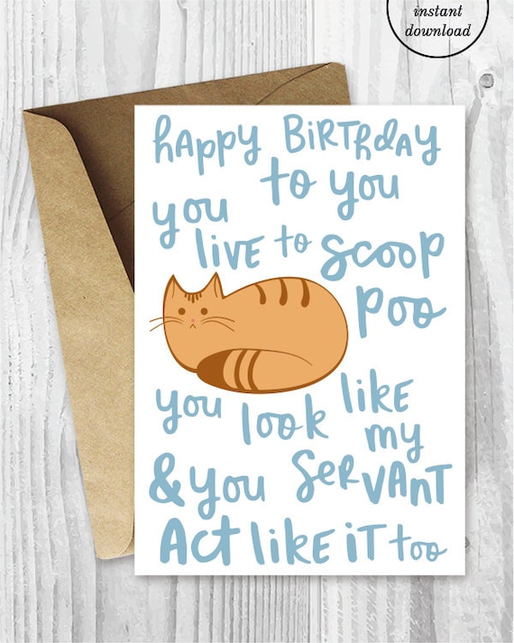 funny birthday song card from the cat printable funny happy