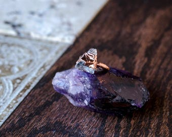 Raw Clear Quartz and Copper Ring Size 3 3/4