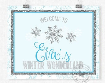 Snowflake Party Sign, Silver and Blue Snowflake Welcome Sign, Winter Wonderland Birthday Sign, Printable 8x10 Sign