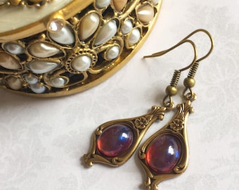Fire Opal Earrings, Fire Opal Jewelry, Dragons Breath Opal Earrings, Dragons Breath Opal Jewelry, Steampunk Earrings, Fairy Tale Gift