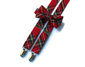 Boys Tartan Suspenders~Wedding Suspenders~Wedding Accessory~Boys Suspender Set