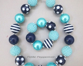 Navy Blue Turquoise Baby necklace,toddler chunky necklace, girl necklace bracelet set,toddler necklace set,baby necklace set,girl jewelry