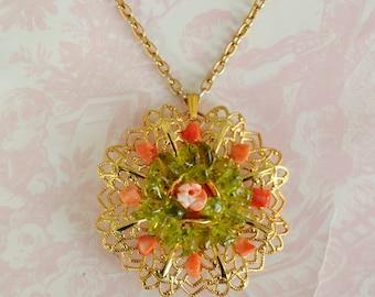 Vintage Gold Tone and Plastic Stone Flower Pendant Necklace