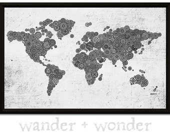 Artsy world maps for those who like to by wanderwonderworldmap large artistic world map on canvas or pin board mandalas gumiabroncs Image collections