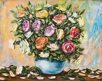 Original floral oil painting 'Garden Roses bouquet', canvas 60x80cm, original artwork
