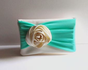 Bridal clutch Ivory Satin clutch Bridesmaid set Mint chiffon  Ivory Brides Purse  Made to order