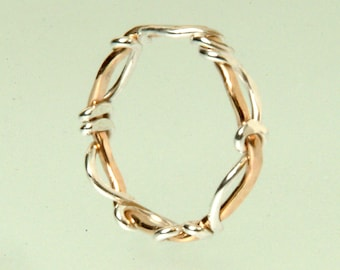 Solid 14K yellow gold and Sterling Silver Surf & Sand Ring