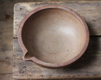Antique 1800s French Ceramic Serving Bowl - Vintage Pottery - Rustic Mixing or Fruit Bowls