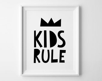 Kids rule nursery print, kids poster, wall art prints, nursery wall art, affiche scandinave, kids wall art, playroom decor, nursery decor