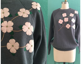 vintage 80's grey appliqué sweater // floral novelty sweater shirt