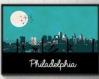 Philadelpha Skyline Poster Philadelphia Print Wall art wall decor dorm decor Philadelphia Eagles 76ers Flyers home decor philly poster