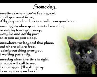Beautiful Black Cat Memorial Pet Loss Bereavement Rainbow Bridge Fridge Magnet plaque gift