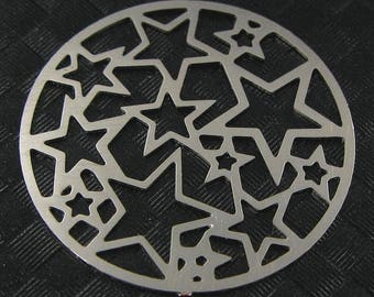 Prints Star Silver x 2, filigree connector Diam 20mm # 652
