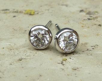 Diamond stud earrings, platinum diamond earrings