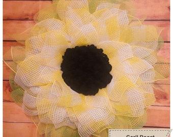Summer Yellow with White Flower Mesh Wreath
