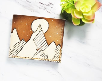 Mens Leather wallet / Mountain wallet / gift for him / Nature wallet  / Camping wallet / Unique gift