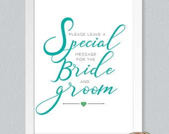 NEW! Contemporary Wedding Table Sign Print - Leave a Special Message for Bride & Groom Guestbook