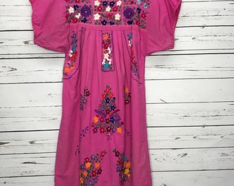 Pink floral handmade Mexican ethnic dress Sz: Med