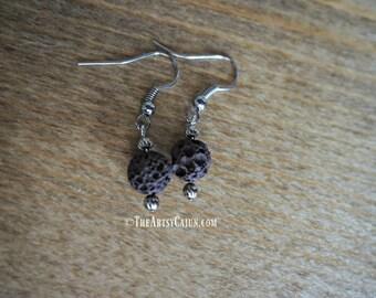 Essential Oil Diffuser Jewelry- Brown Lava Rock Minimalistic Earring