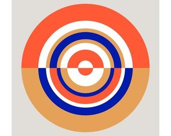 Around in Circles No. 8, Original Art Print, Target, Geometric, Abstract