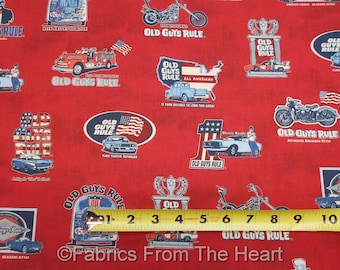 Old Guys Rule Vintage Cars Motorcycles Red BY YARDS Robert Kaufman Cotton Fabric