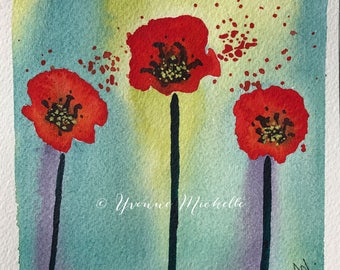 Poppies No. 013 - Original Watercolor Painting, Floral, Art, Wall Decor
