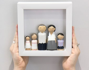 Gift For Husband - Custom Gift - Personalized Peg Doll Family - Custom Family Portrait - Fathers Day Gift - Peg Dolls - For Dad -Anniversary