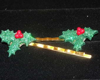 Christmas Holly Hair Bobby Pins/ Barrettes/ Hair Clips