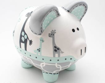 Uptown Giraffe Personalized Piggy Bank in Mint and Grey