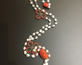 Natural pearl necklace and coral-necklace natural pearls and coral