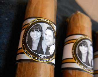 Custom Cigar Bands Wedding Party and Groomsman Photo Cigar Bands