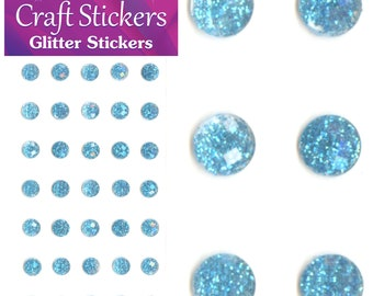 Pale Blue Self Adhesive Glitter Stickers Faceted Gems 4mm or 8mm Craft Embellishments