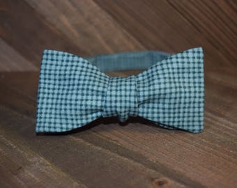 Green & Blue Self Tie Bow Tie