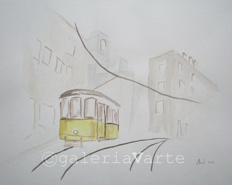 Watercolor painting - Old Yellow tram 28 - europeanstreetteam