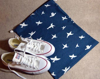 Navy Bird Silhouette Drawstring Travel Shoe Bag