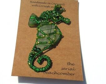 Seaglass seahorse brooch