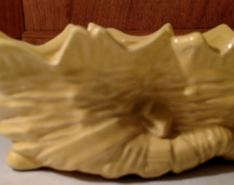 "Vintage  McCoy Yellow Double Cornucopia Shell Planter  1950""s"