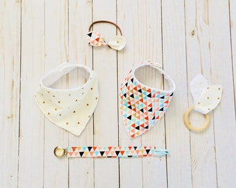 Baby Girl Gift Set, bandana bibs, wooden teether, pacifier clip, fabric bow headband, 5 piece gift set, baby shower gift, MADE TO ORDER