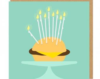 Burger and candles Birthday Greeting Card