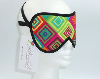 """Eye Mask Sleep Mask for flights travel and holidays in """"Funky Squares"""" by Joella Hill Australian Seller"""